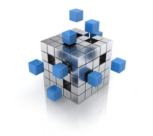 kubus met uitstekende blokjes